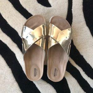 Mossimo Gold Metallic Sandals SZ 8